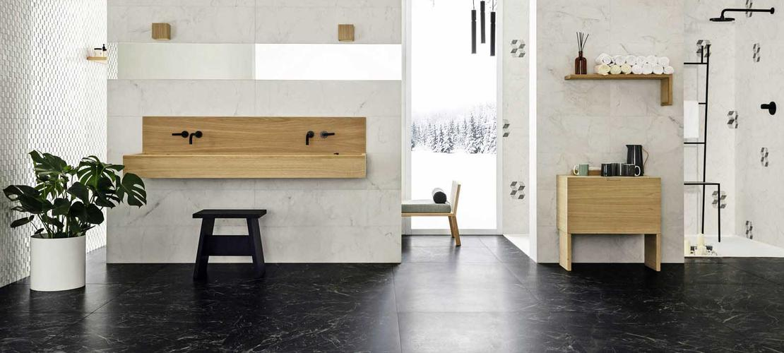 Gres efecto m rmol minimalista elegante bigmat for Materiales de construccion marmol